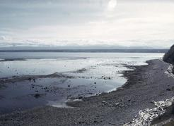 Figure 13. Gravel beach at the south end of Quadra Island. The source of the gravel is the eroding sea cliff that backs the beach. John J. Clague photo