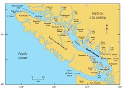 Figure 1. Map of southwest British Columbia showing the location of the Strait of Georgia within the Salish Sea (consisting of the Strait of Georgia, Puget Sound and Juan de Fuca Strait). Numbers refer to following locations:  (1) Admiralty Inlet; (2) Deception Pass; (3) Rosario Strait; (4) Boundary Pass; (5) Active Pass; (6) Porlier Pass; (7) Gabriola Pass; (8) Dodd Narrows; (9) Burrard Inlet; (10) Skookumchuck Narrows; (11) Ripple Rock.
