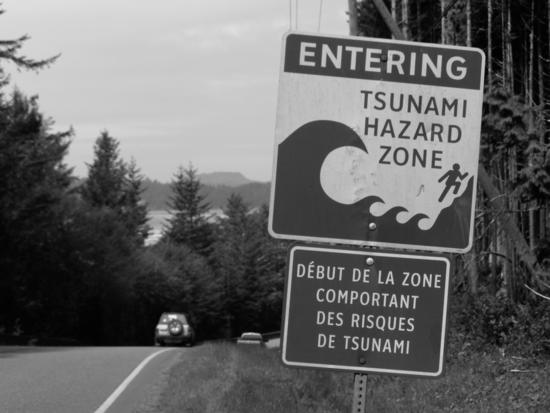 The threat of tsunamis around the Pacific Rim's Ring of Fire has led communities like Tofino to establish detailed emergency response plans, including sirens near beaches to warn of potential threats. Signs identify hazard zones and evacuation routes to follow in the event of a tsunami alert.