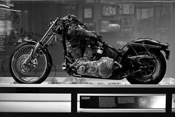Following the 2011 earthquake in Japan and the subsequent tsunami, this motorcycle came ashore on Haida Gwaii, inside a container. When contacted, the owner chose to donate the motorbike to the Harley-Davidson Museum in Milwaukee, Wisconsin.