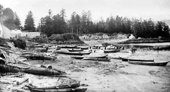 Hesquiat village around 1900. The Nuu-chah-nulth people built their villages on gradually sloping beaches of sand or light gravel, with fresh water nearby. In such locations, they could easily land and launch their canoes. Note the sizes and variety of canoes. These dugout canoes could be up to eleven metres long and carry a dozen or more men on whale hunts.