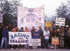The Raging Grannies protesting logging in Clayoquot Sound, 1993. WCWC