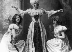 Production of The Bridal Trap in Victoria, 1908. From left: Miss Stoddart as Marion, Miss H. Kent as The Marquise and Miss Carter as Rosette. BC Archives G-00198