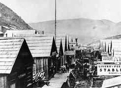 Main street of Barkerville, the centre of the Cariboo gold rush, early in 1868. BC Museum of Mining