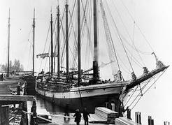 The <em>Mabel Brown</em>, first of a series of wooden schooners built at Wallace Shipyards on the North Vancouver waterfront during World War I. NVMA 4973