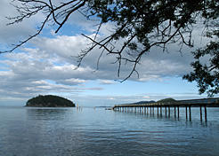 The wharf at Bennett Bay on Mayne Island, looking out to Georgeson Island. Kevin Oke photo