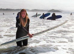 Shyna Ellis, surfer, at Long Beach, 1998. Jon Murray/Vancouver Province